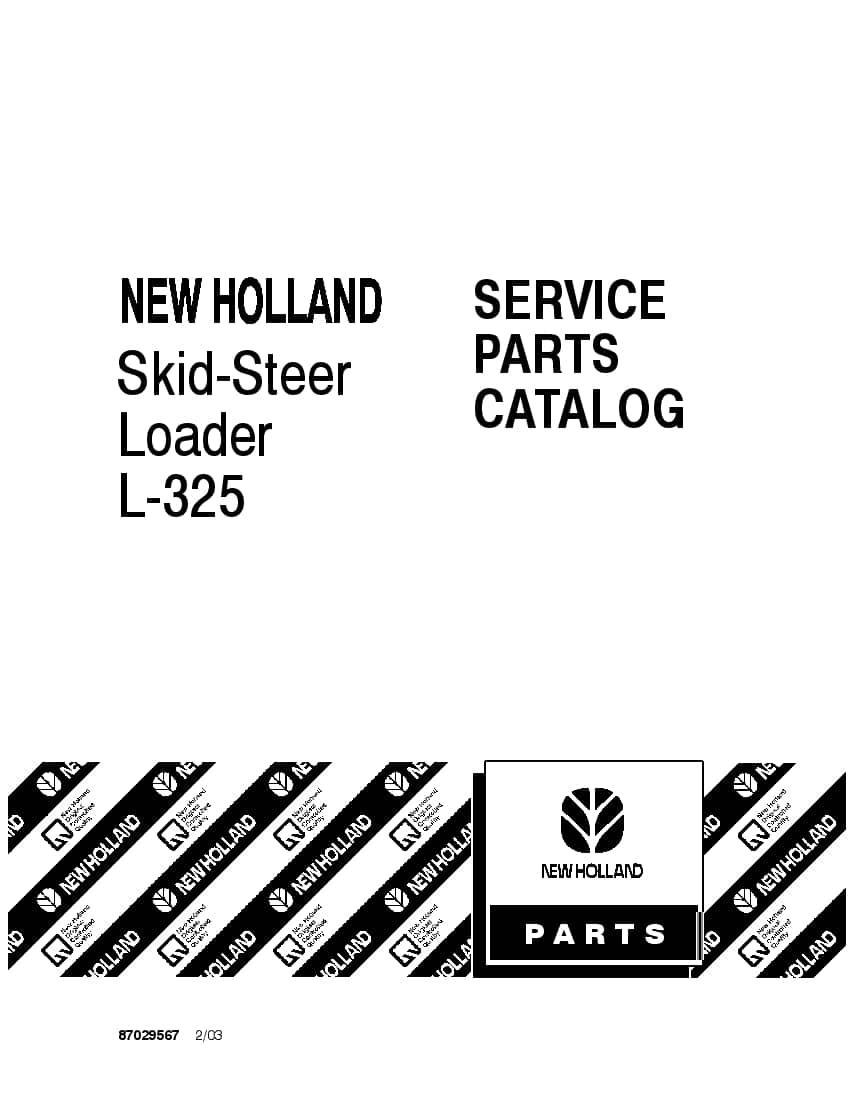NEW HOLLAND L325 SKID STEER Part Manual PDF Download