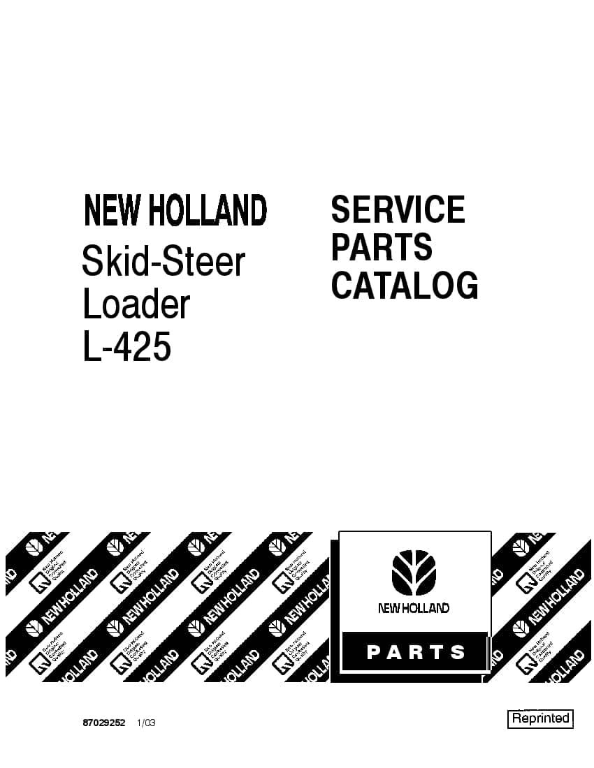 NEW HOLLAND L425 SKID STEER Part Manual PDF Download
