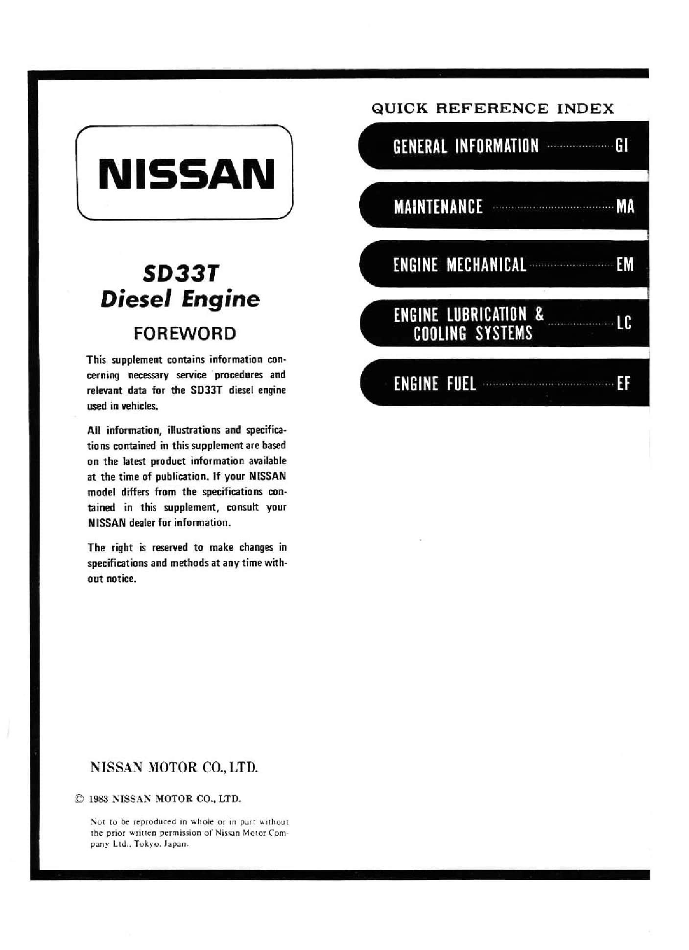 Nissan Motor Sd33T Workshop Repair Service Manual PDF