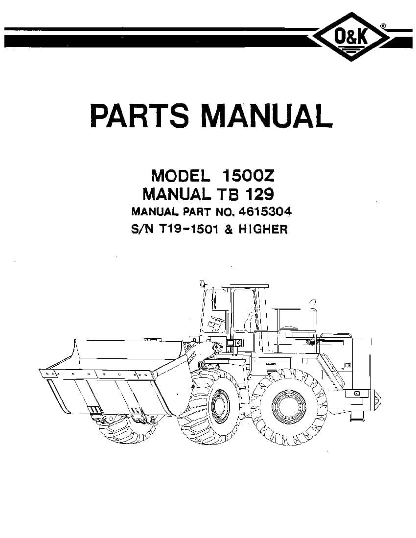 OK TROJAN 1500Z-TB129 WHEEL LOADER Parts Manual PDF
