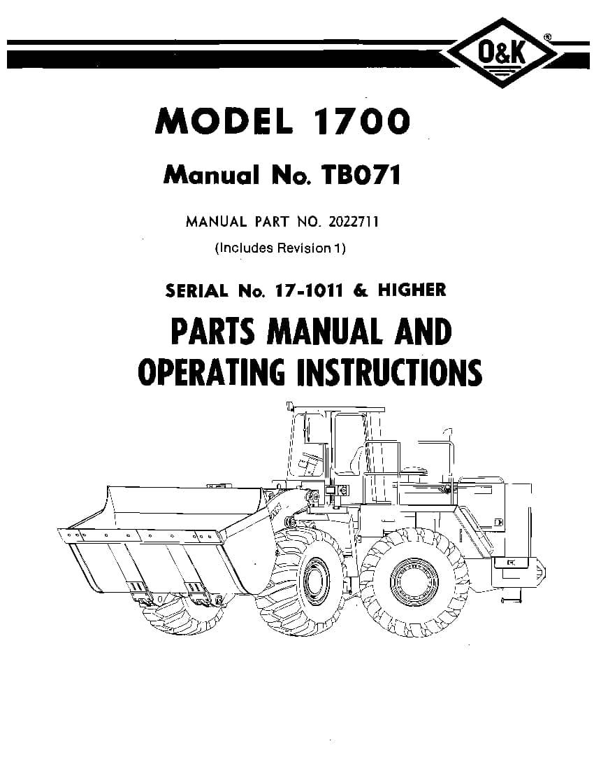 OK TROJAN 1700-TB071 WHEEL LOADER Parts Manual PDF
