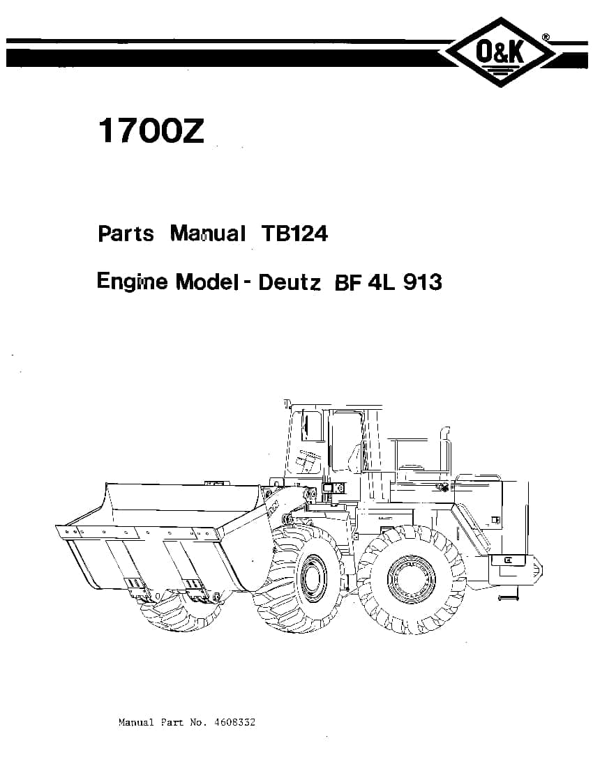 OK TROJAN 1700Z-TB124 WHEEL LOADER Parts Manual PDF