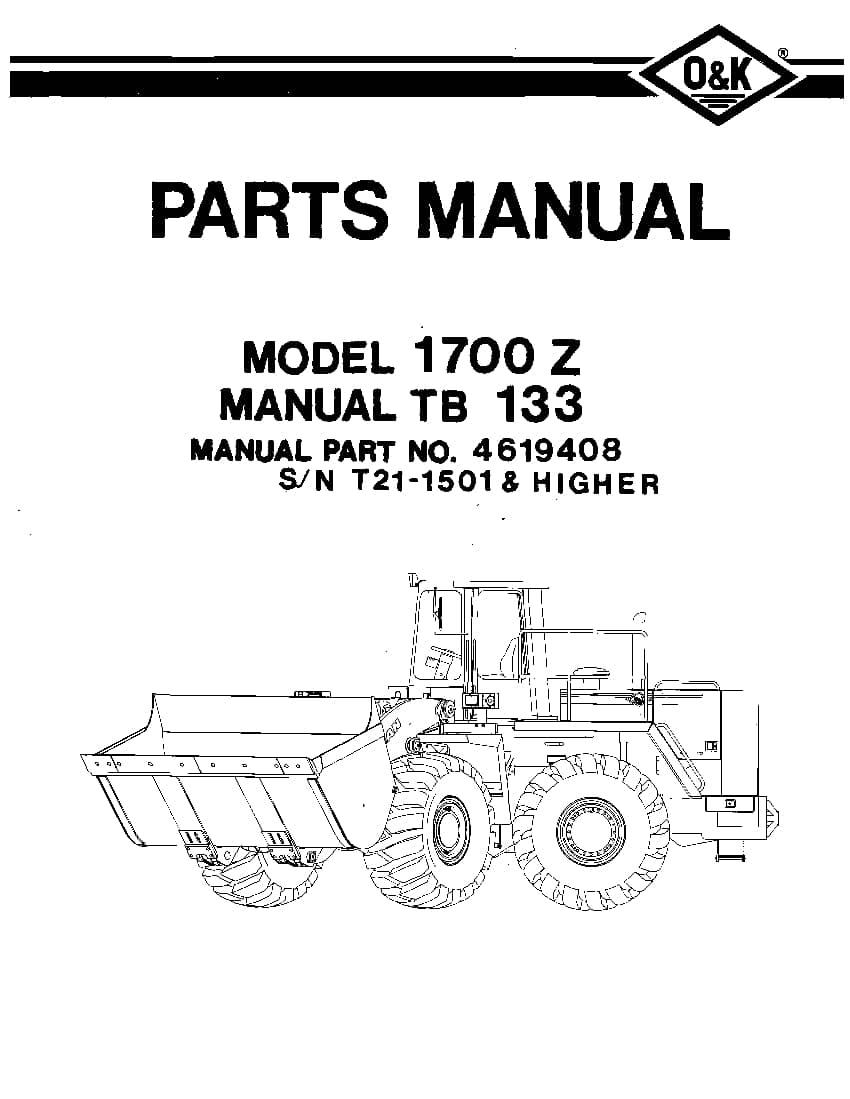 OK TROJAN 1700Z-TB133 WHEEL LOADER Parts Manual PDF