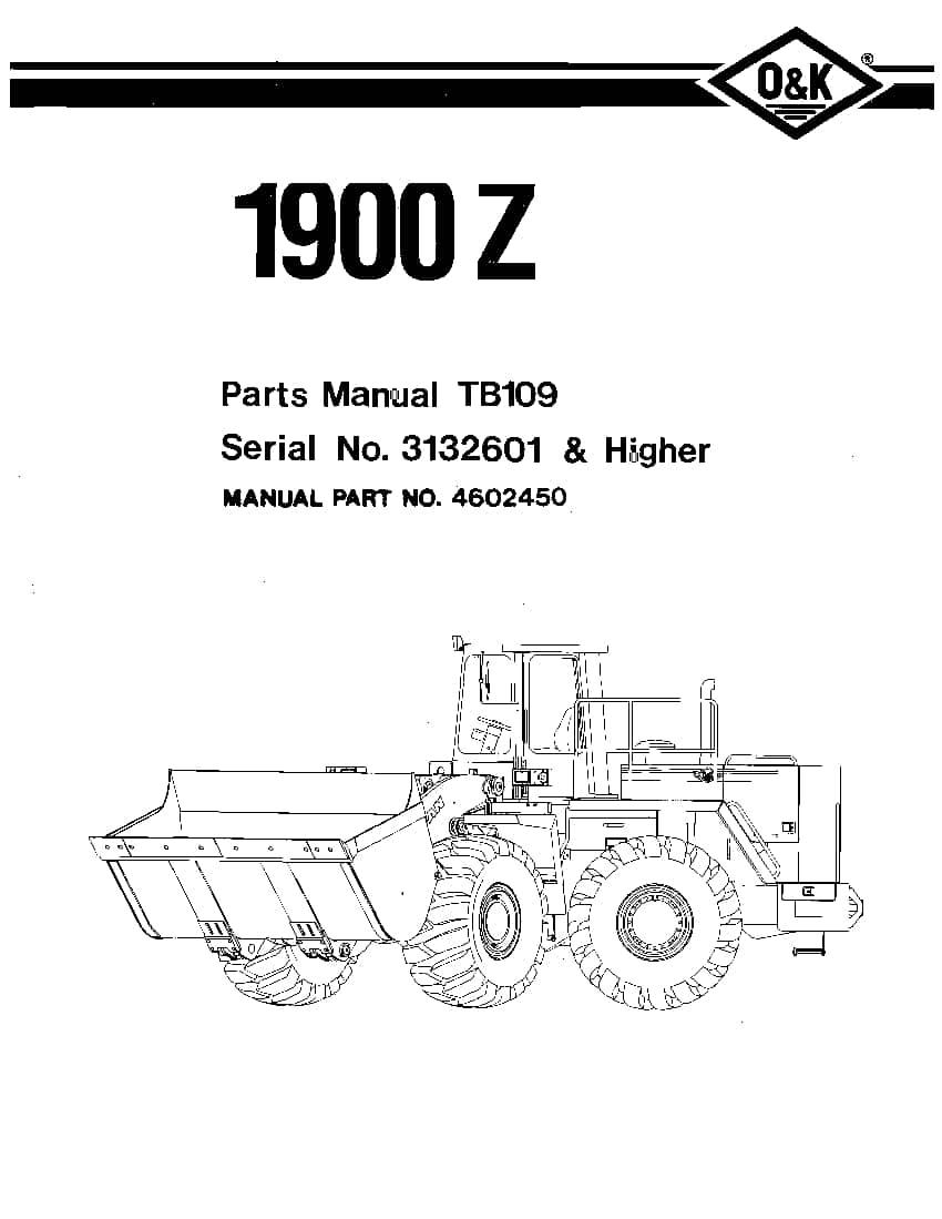 OK TROJAN 1900Z-TB109 WHEEL LOADER Parts Manual PDF
