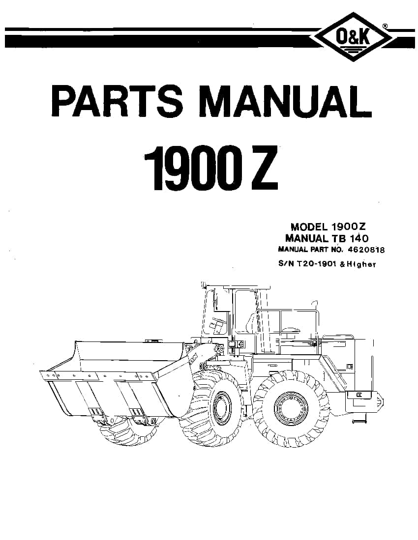 OK TROJAN 1900Z-TB140 WHEEL LOADER Parts Manual PDF