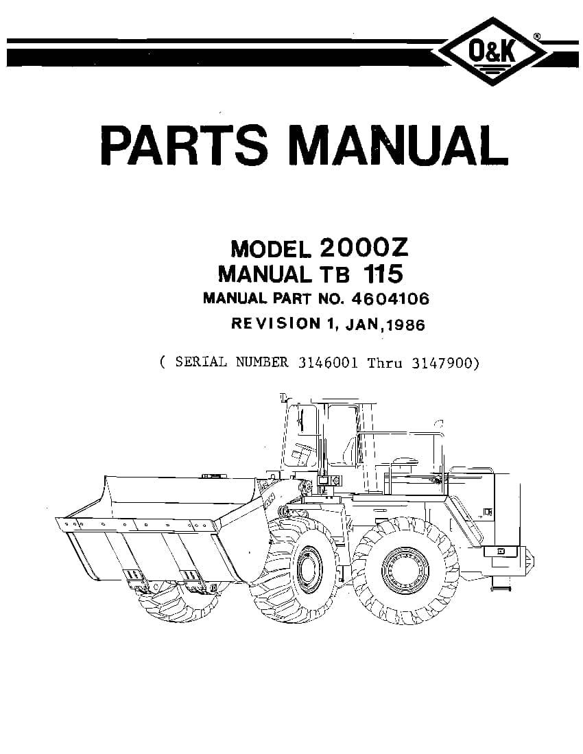 OK TROJAN 2000Z-TB115 WHEEL LOADER Parts Manual PDF
