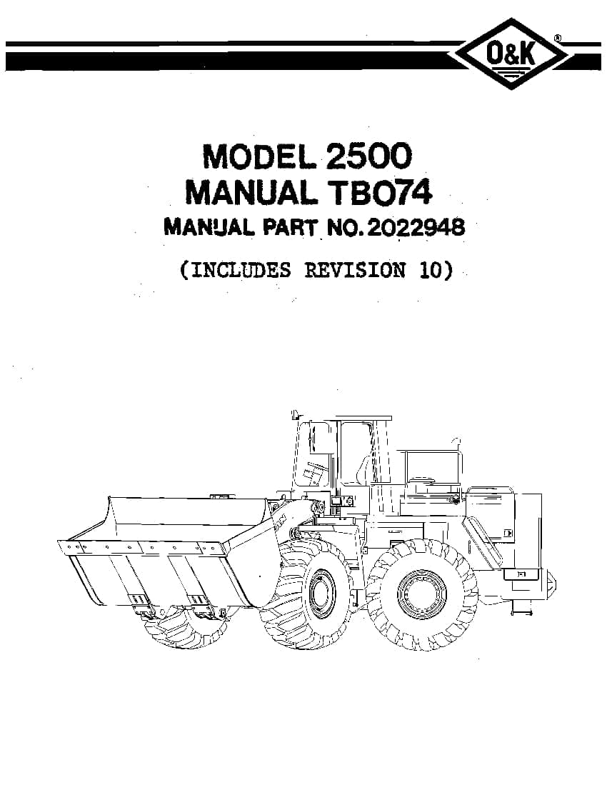 OK TROJAN 2500-TB074 WHEEL LOADER Parts Manual PDF