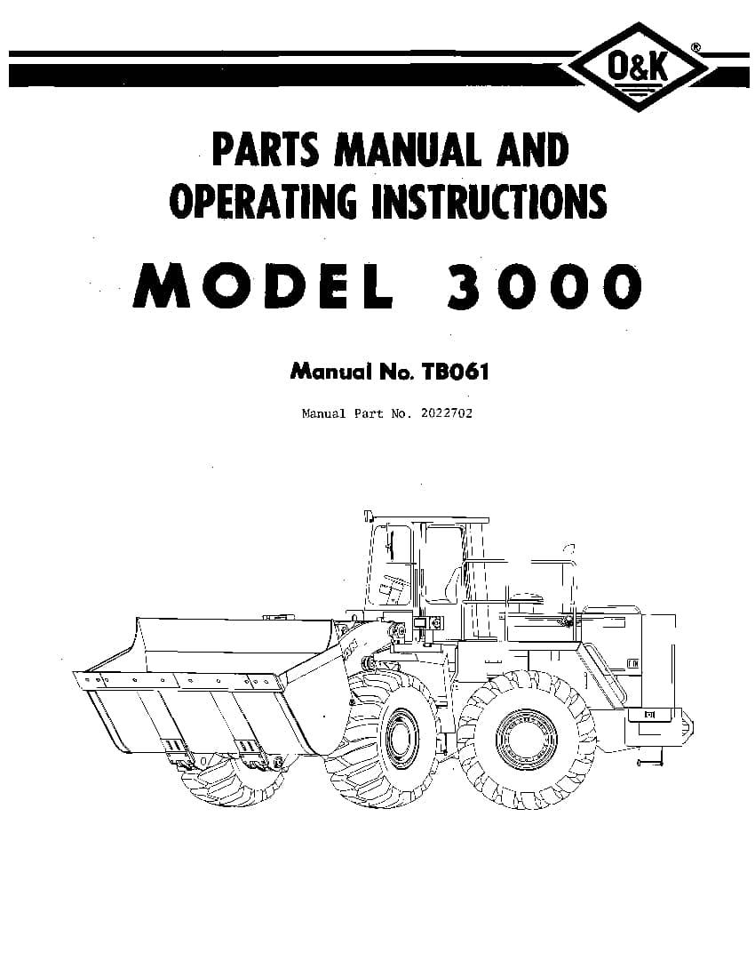 OK TROJAN 3000-TB061 WHEEL LOADER Parts Manual PDF