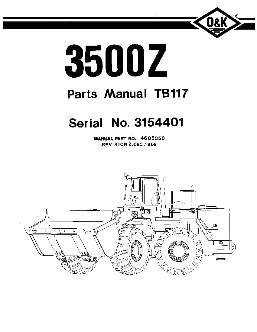 OK TROJAN 3500Z-TB117 WHEEL LOADER Parts Manual PDF