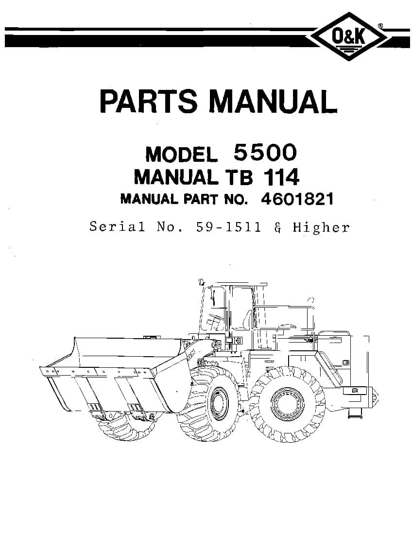 OK TROJAN 5500-TB114 WHEEL LOADER Parts Manual PDF