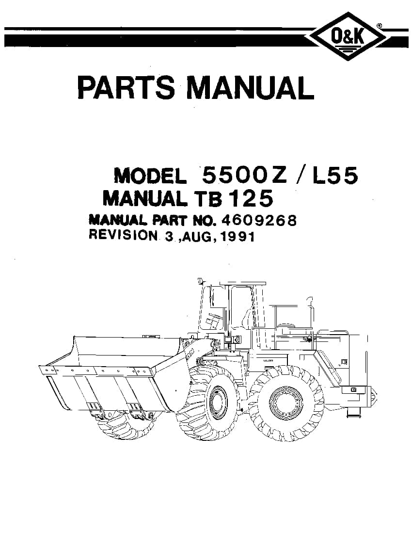 OK TROJAN 5500Z-TB125 WHEEL LOADER Parts Manual PDF