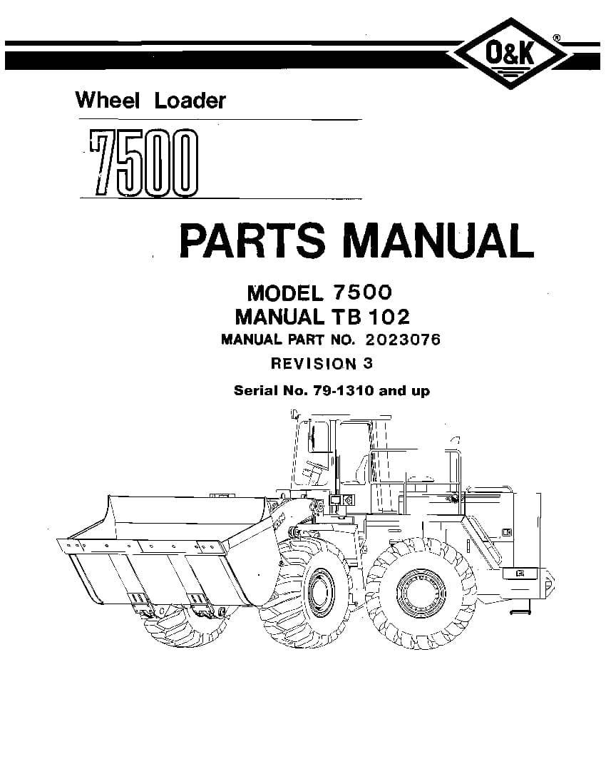 OK TROJAN 7500-TB102 WHEEL LOADER Parts Manual PDF