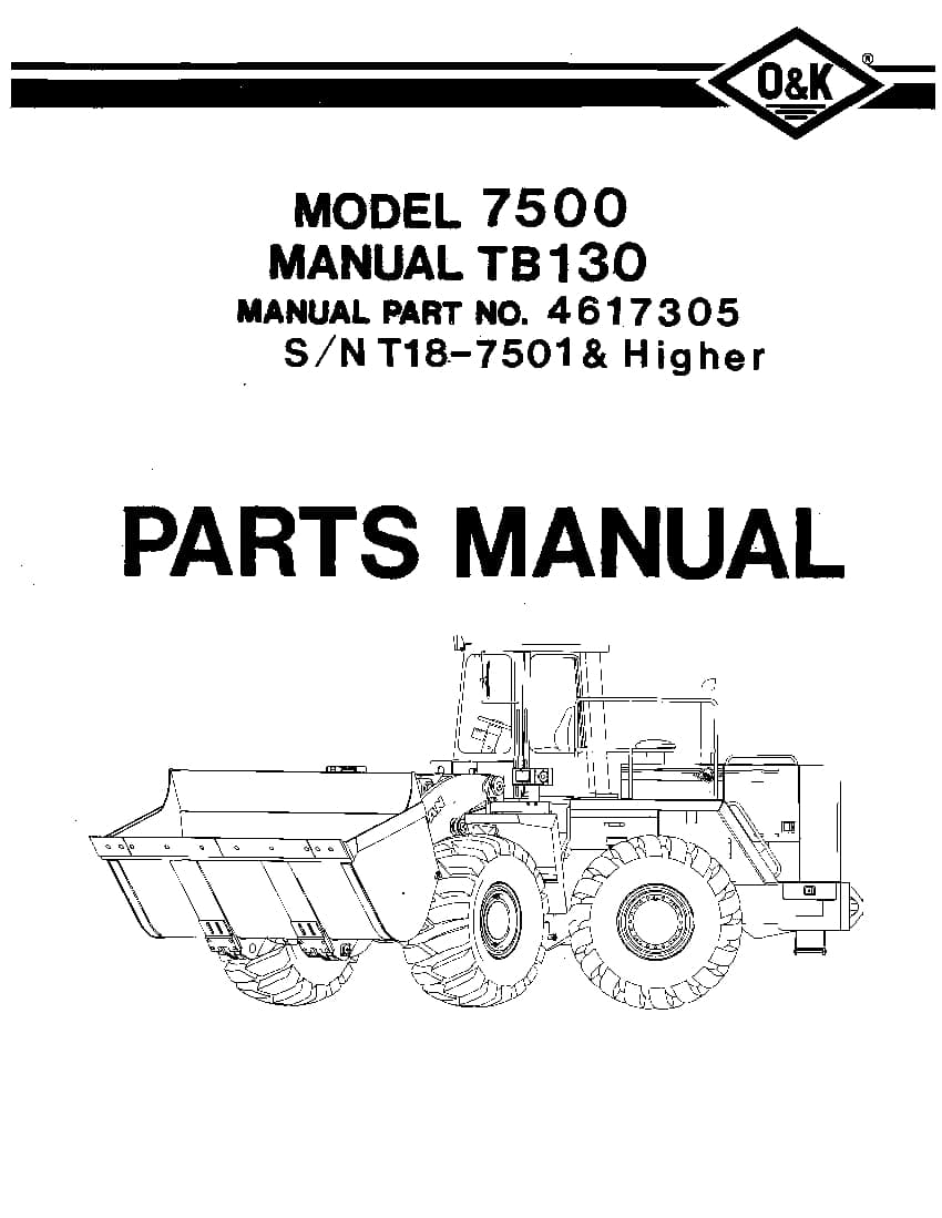 OK TROJAN 7500-TB130 WHEEL LOADER Parts Manual PDF