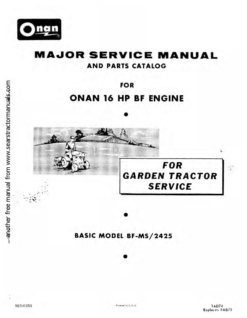 Onan Bf 16Hp Motor Workshop Repair Service Manual PDF