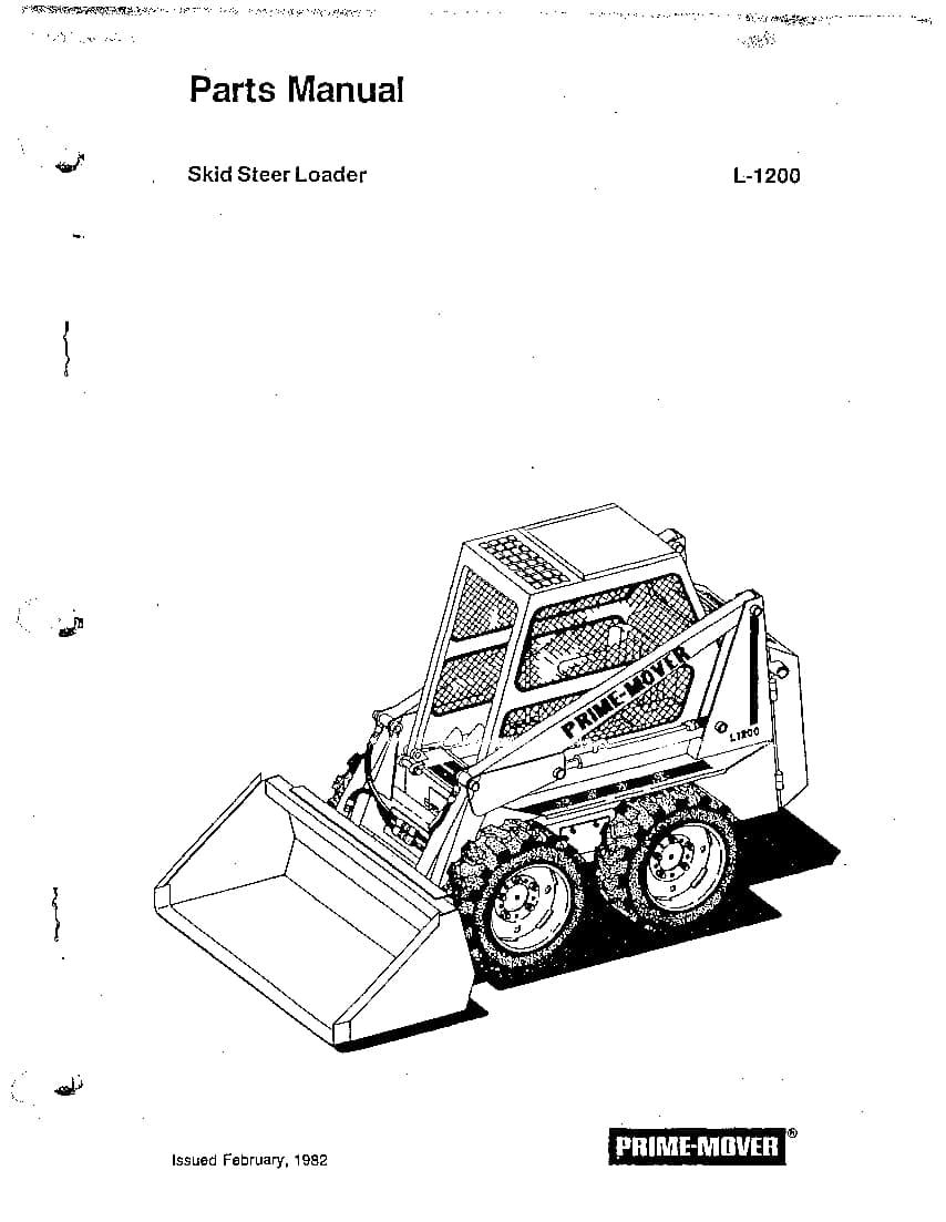 PRIME MOVER SKID STEER L1200 Parts Manual PDF Download
