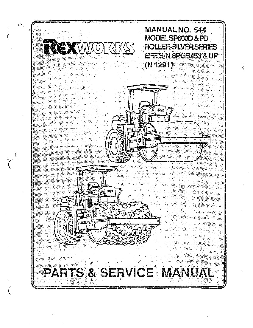 REX ROLLER SP600D,PD PM,SM 544 Parts Manual PDF Download
