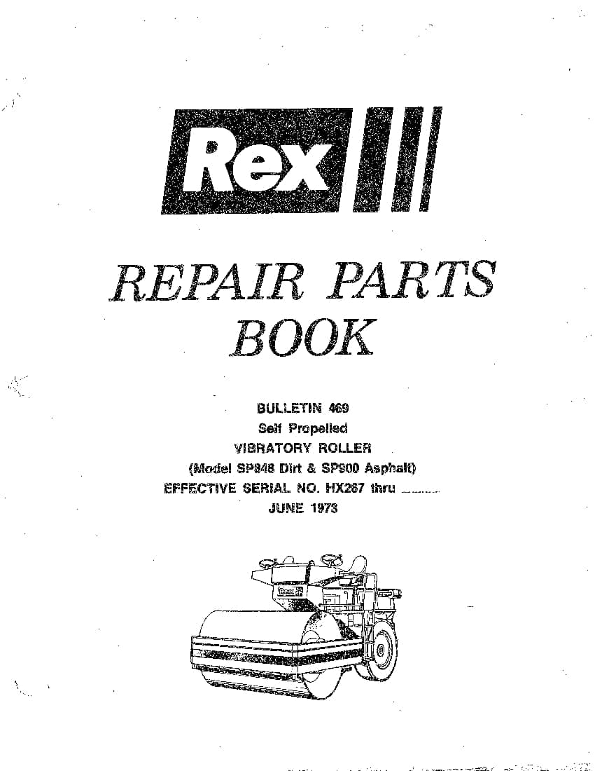 REX ROLLER SP848,SP900 SM,PM 469 Parts Manual PDF Download