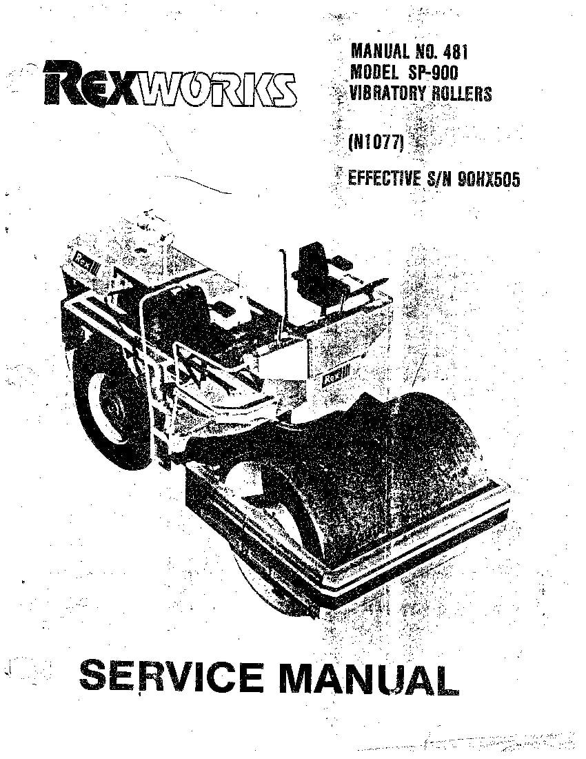REX ROLLER SP900 SM 481 Parts Manual PDF Download