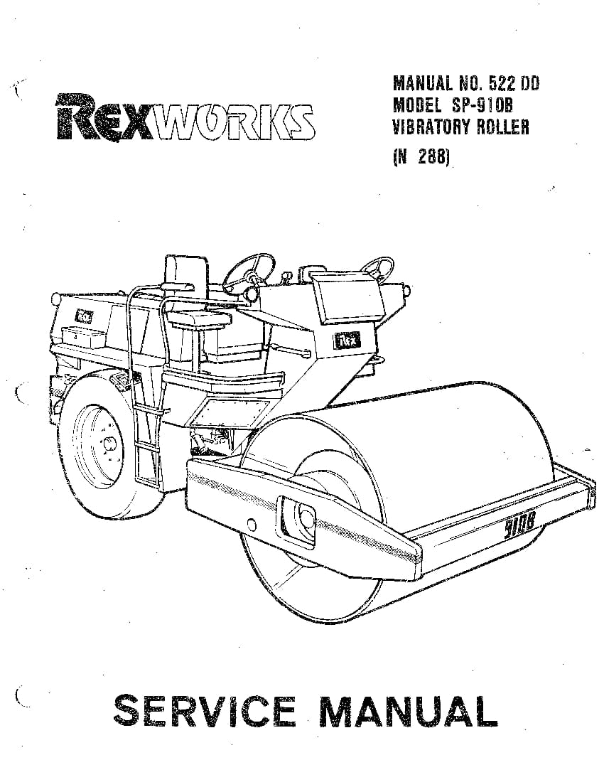 REX ROLLER SP910B SM 522 DD Parts Manual PDF Download
