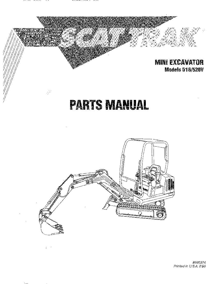 SCAT TRAK 516 and 520V 8990324 MINI EXCAVATOR Parts Manual