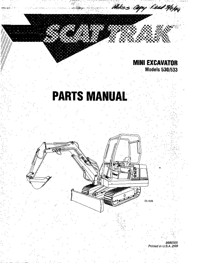 SCAT TRAK 530 533 8990325 MINI EXCAVATOR Parts Manual PDF
