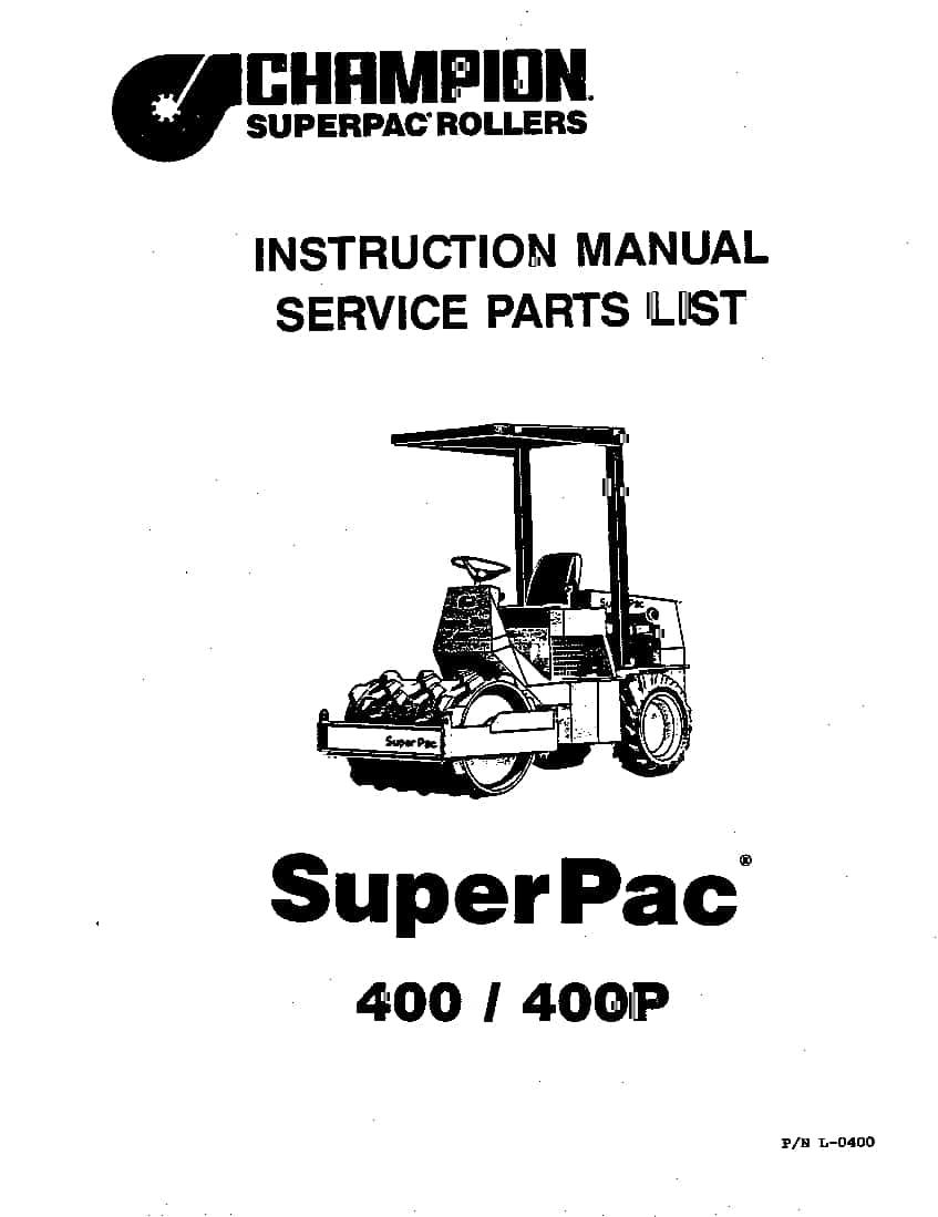 SUPERPAC COMPACTION 400 PN L-0400 Parts Manual PDF