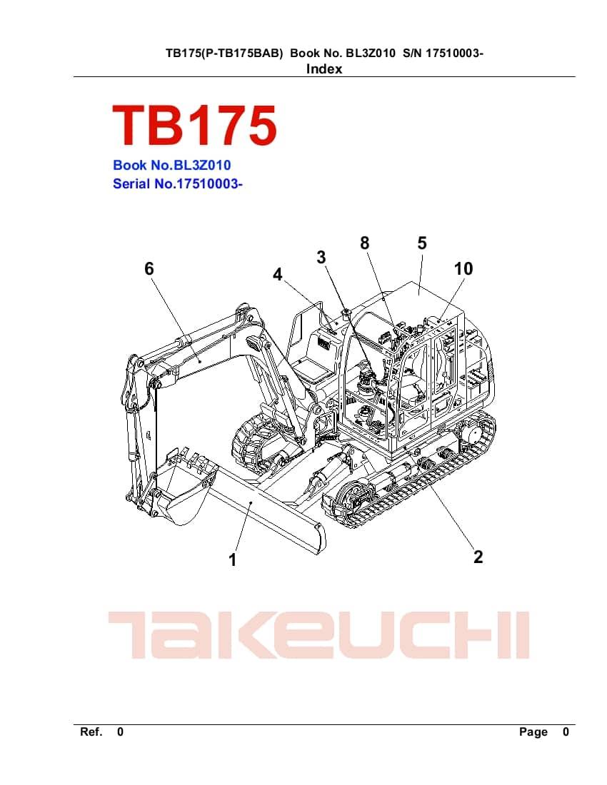 TAKEUCHI TB175 BL3Z010 CRAWLER LOADER PARTS MANUAL PDF