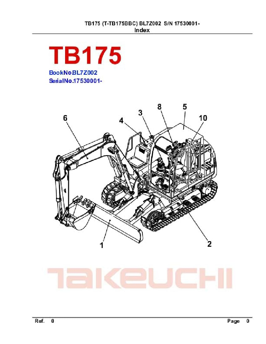 TAKEUCHI TB175 BL7Z002 CRAWLER LOADER PARTS MANUAL PDF