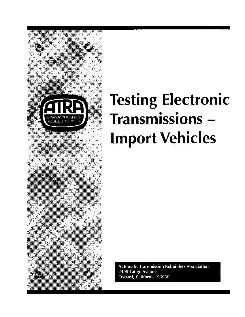 Testing Electronic Transmissions Import Vehicles PDF