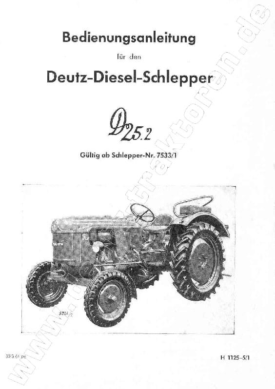 Tractors Deutz D25.2 Workshop Repair Service Manual PDF