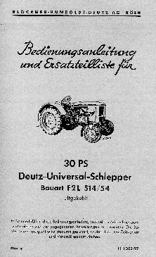 Tractors Deutz F2L514 Workshop Repair Service Manual PDF