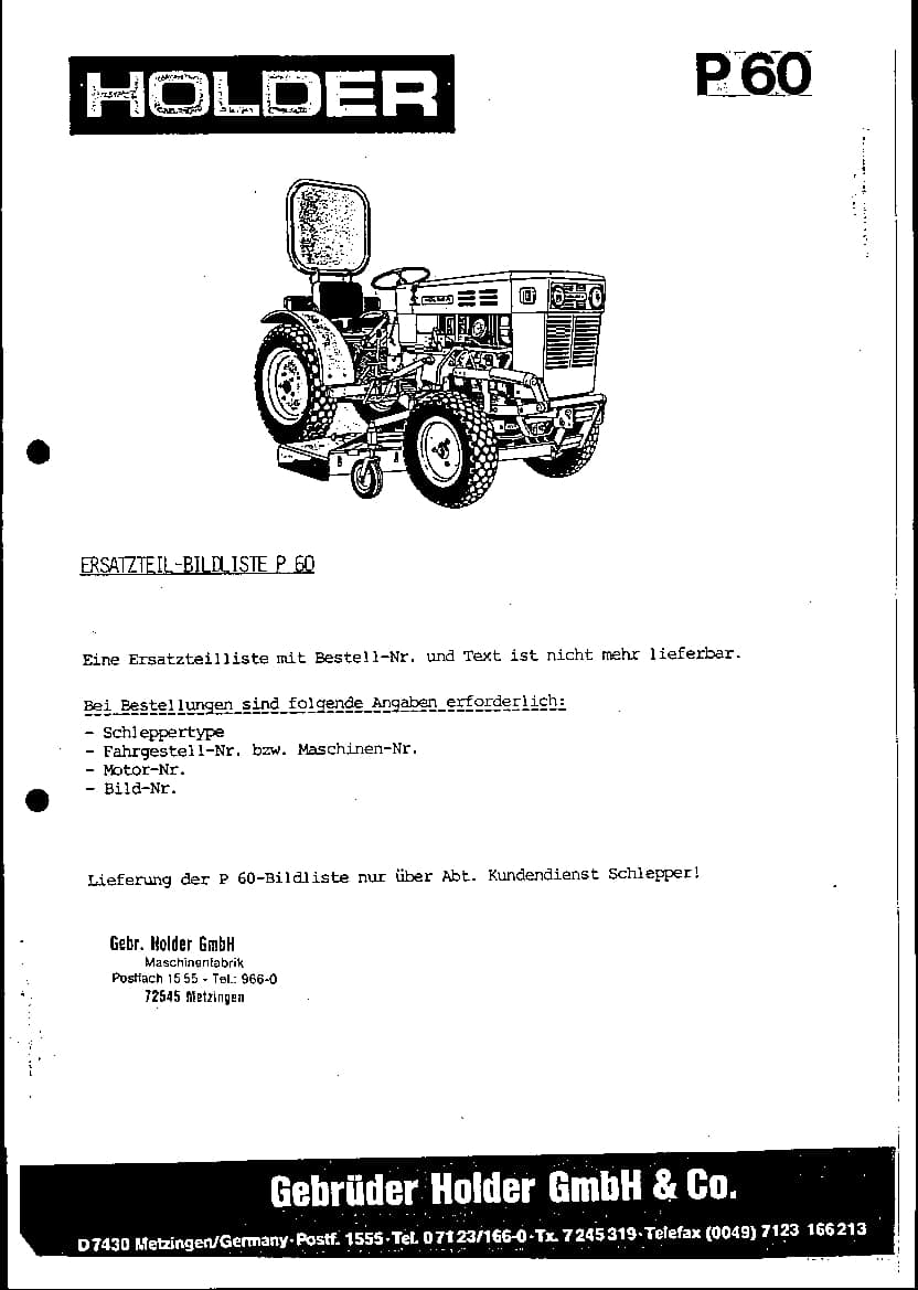 Tractors Holder P60 Workshop Repair Service Manual PDF