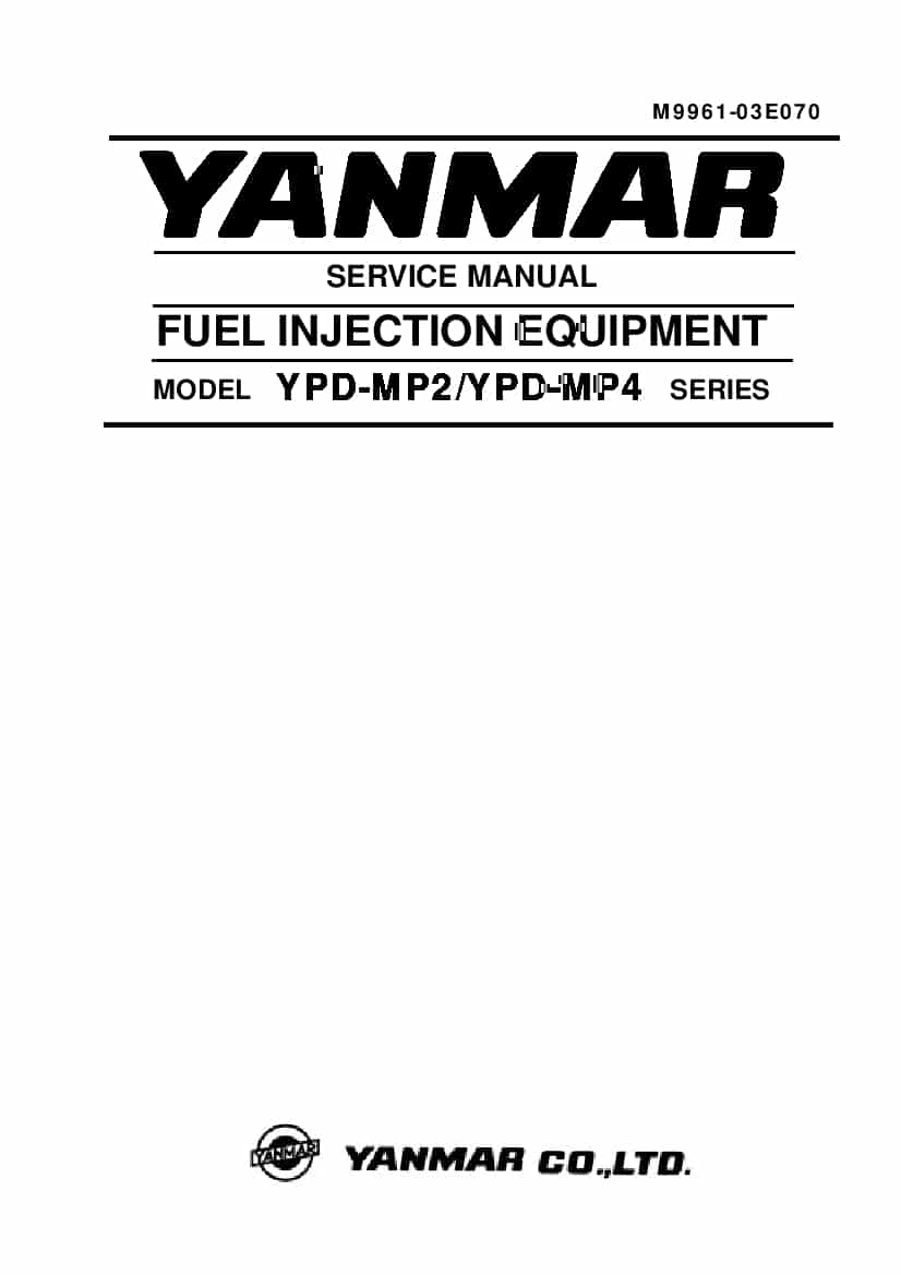 YANMAR FUEL INJECTION Workshop Repair Service Manual PDF