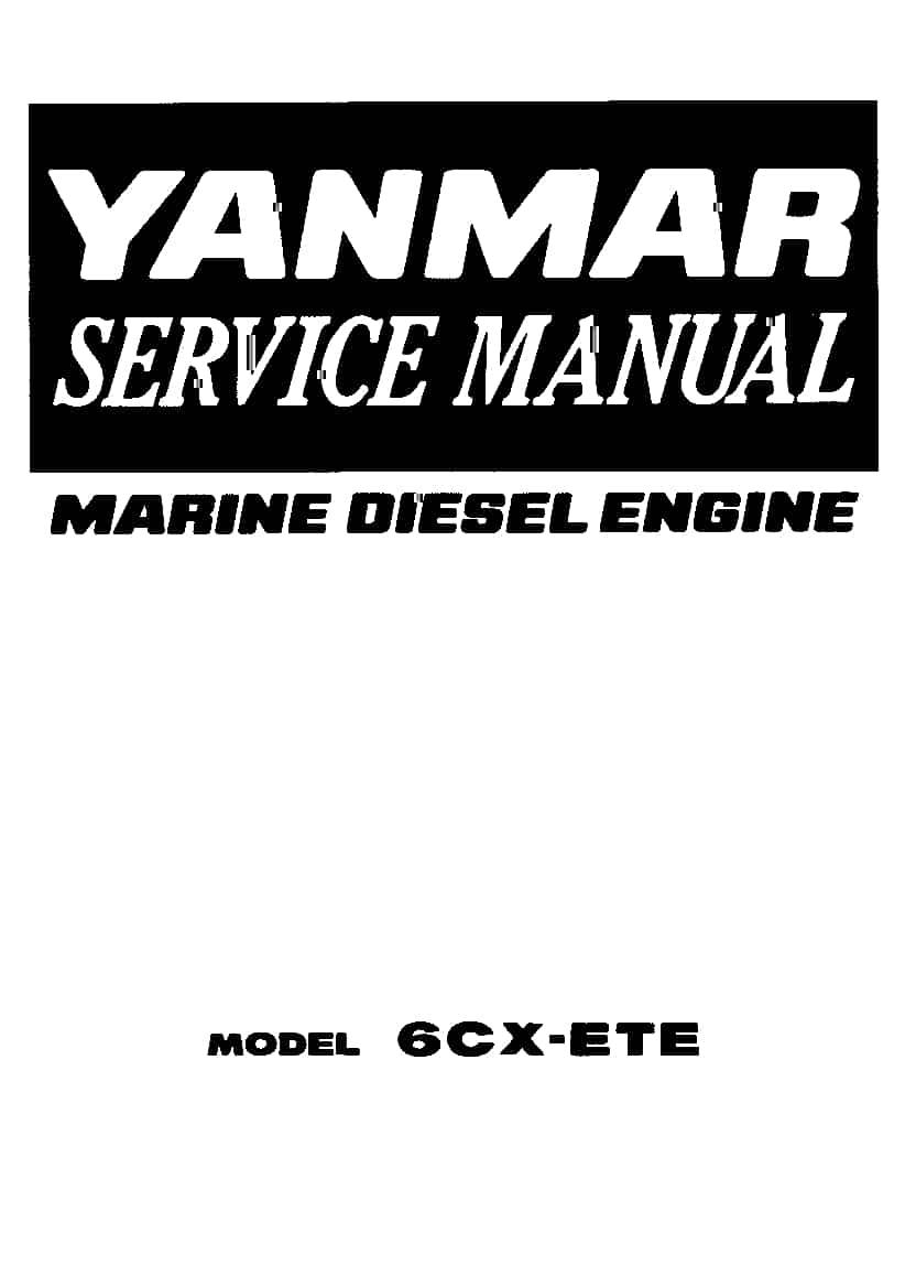 YANMAR MODEL 6CX-ETE Workshop Repair Service Manual PDF