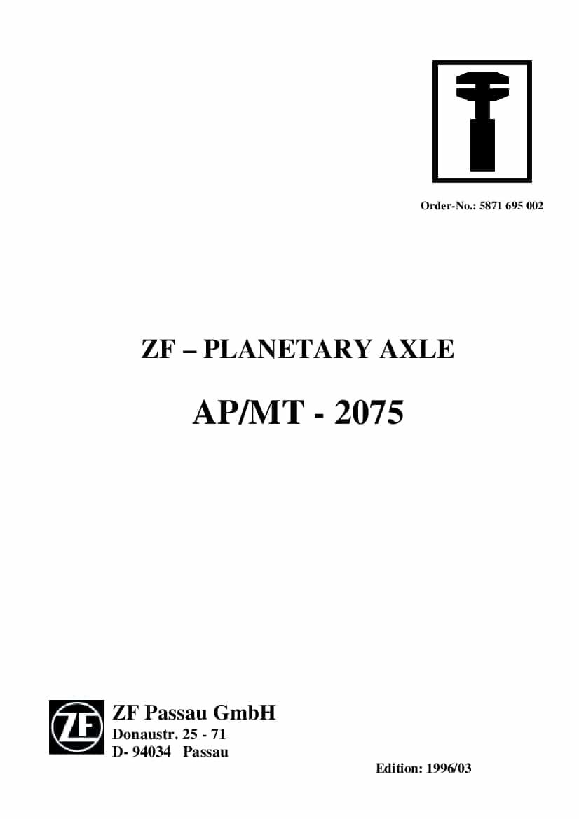 ZF Passau PLANETARY AXLE AP MT 2075 Workshop Repair