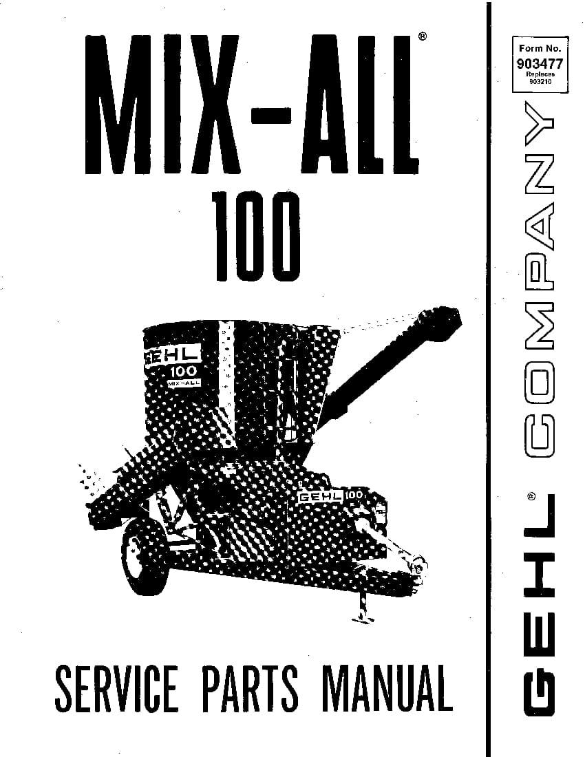 Mikser Prikolicu Gehl 100 Mix-All Parts Manual PDF