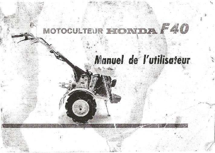 Motokultivator Honda F40 Workshop Repair Service Manual
