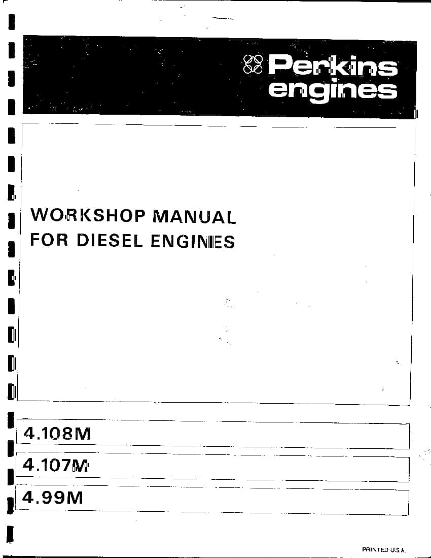 Motor Perkins 4.108M Workshop Repair Service Manual PDF