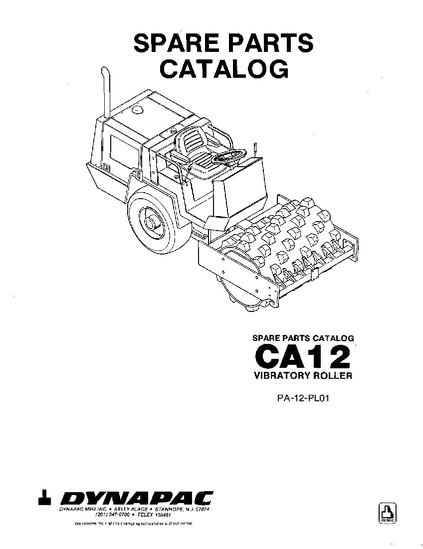 Dynapac CA 12 PA-12-PL01 Parts Manual PDF Download