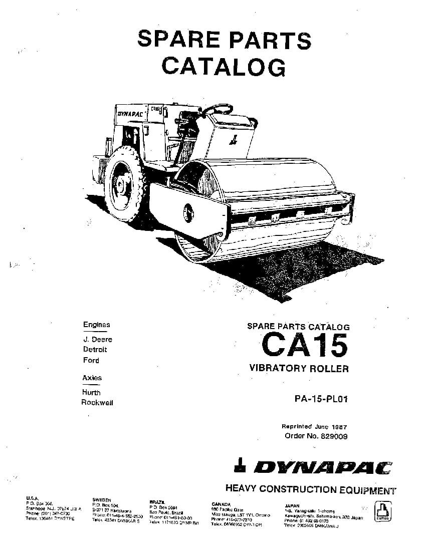 Dynapac CA 15-CA 15I PA-15-PL01 Parts Manual PDF Download