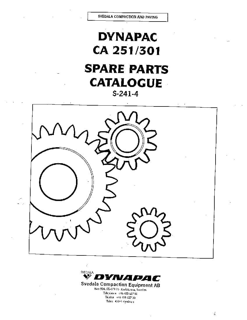 Dynapac CA 251-301 S-241-4 Parts Manual PDF Download