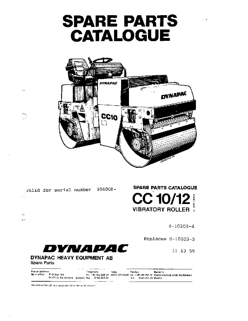 Dynapac CC 10 12 S-10203-4 Parts Manual PDF Download