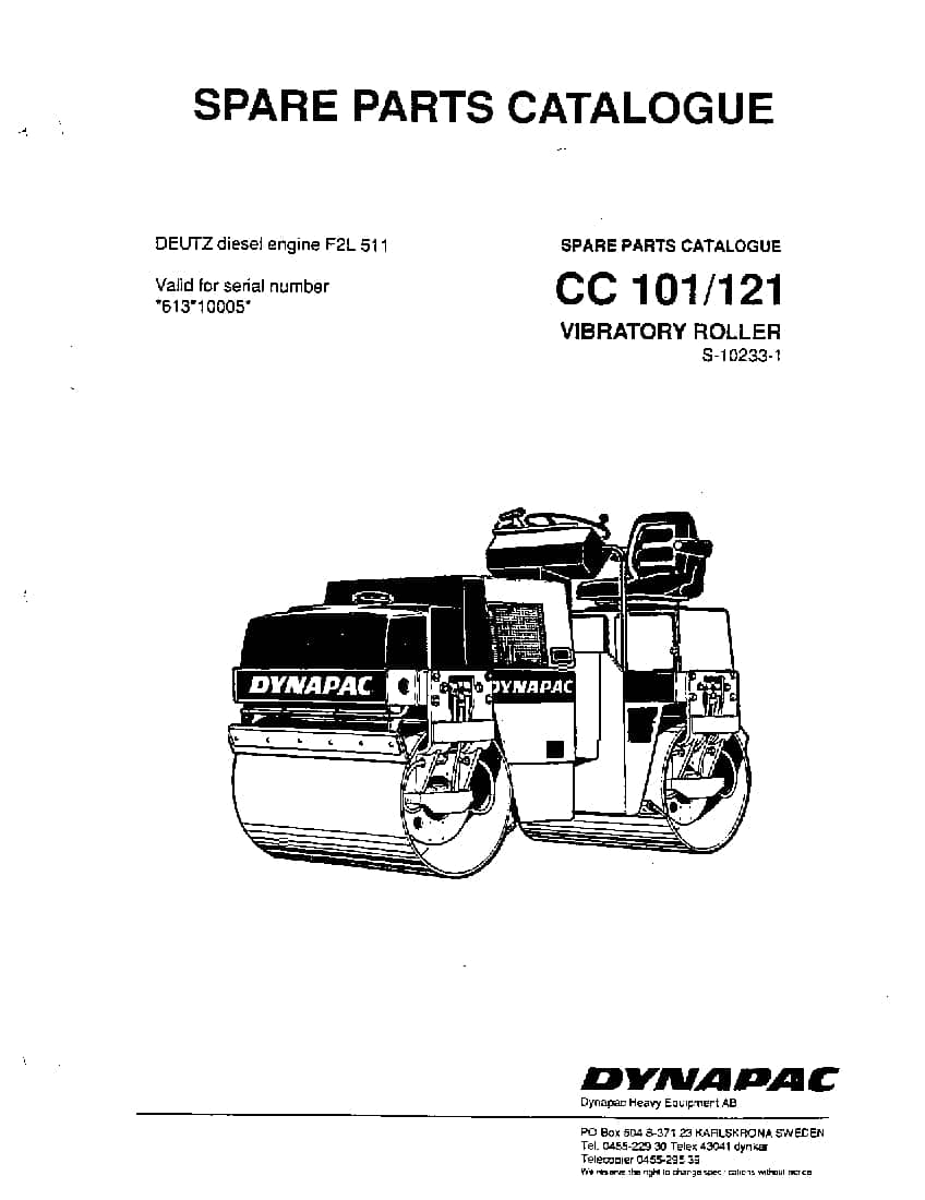 Dynapac CC 101 121 S-10233-1 Parts Manual PDF Download