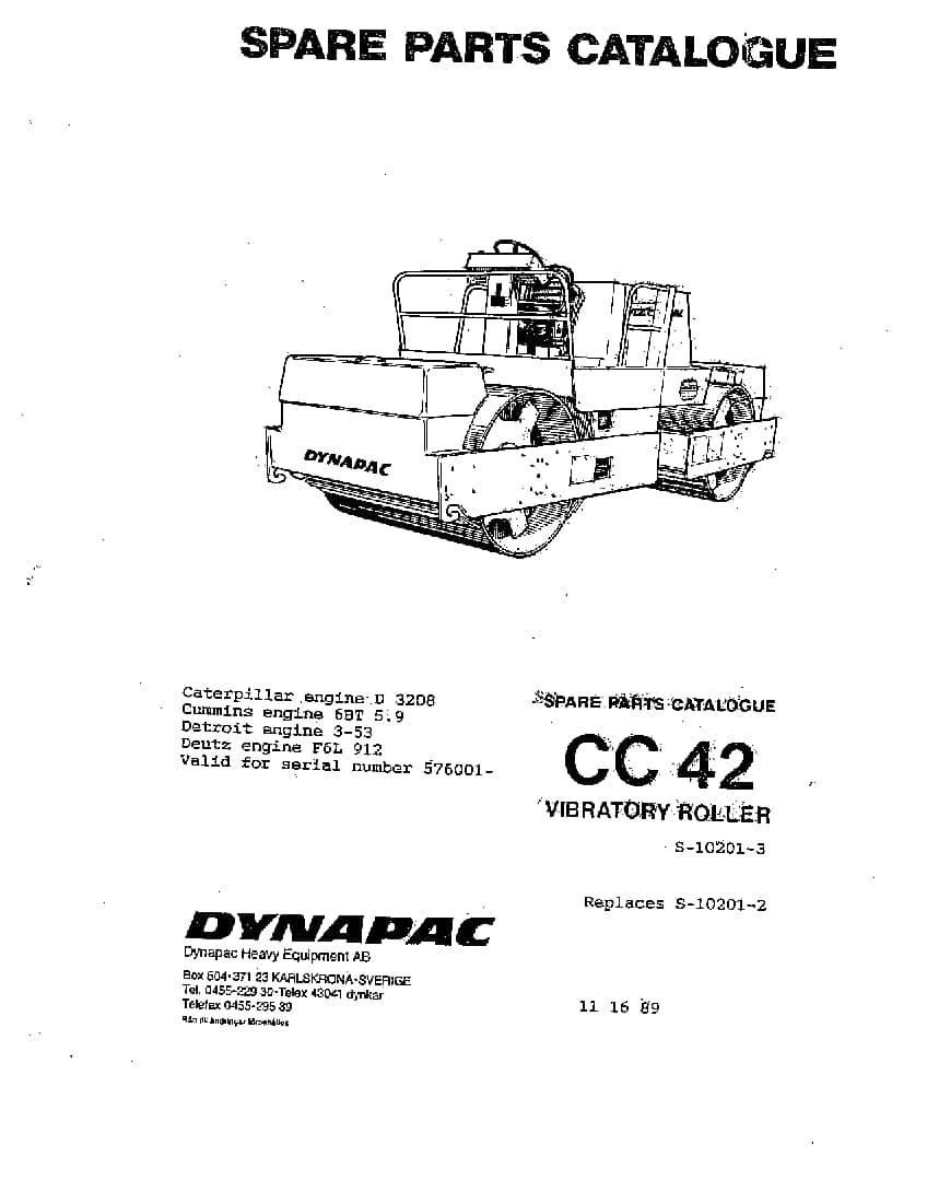 Dynapac CC 42 S-10201-3 Parts Manual PDF Download
