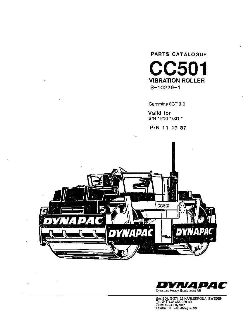 Dynapac CC 501 S-10229-1 Parts Manual PDF Download