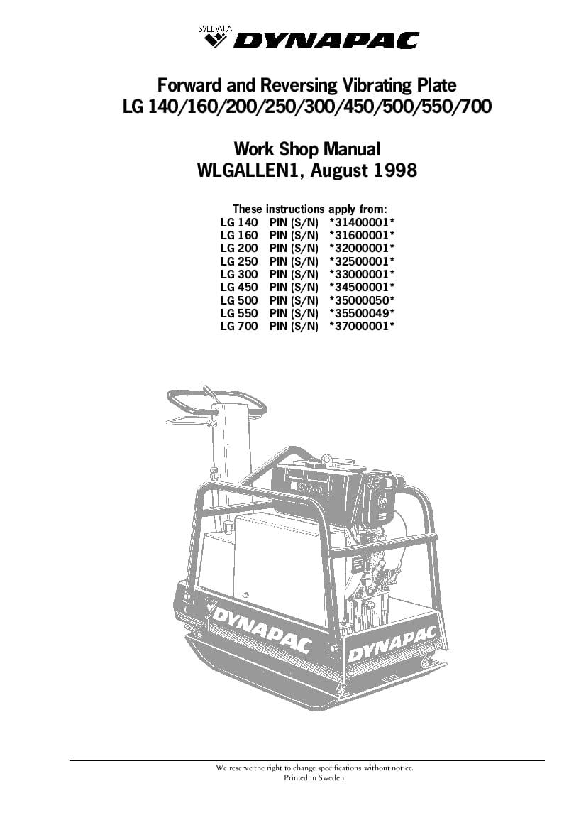 Dynapac LG140 160 200 250 300 450 500 550 700 Workshop