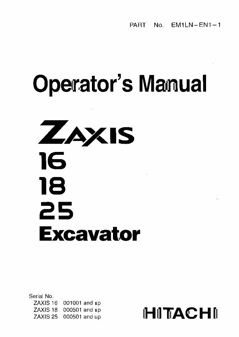 Hitachi Zaxis 16 18 25 Operation and Maintenance Manual