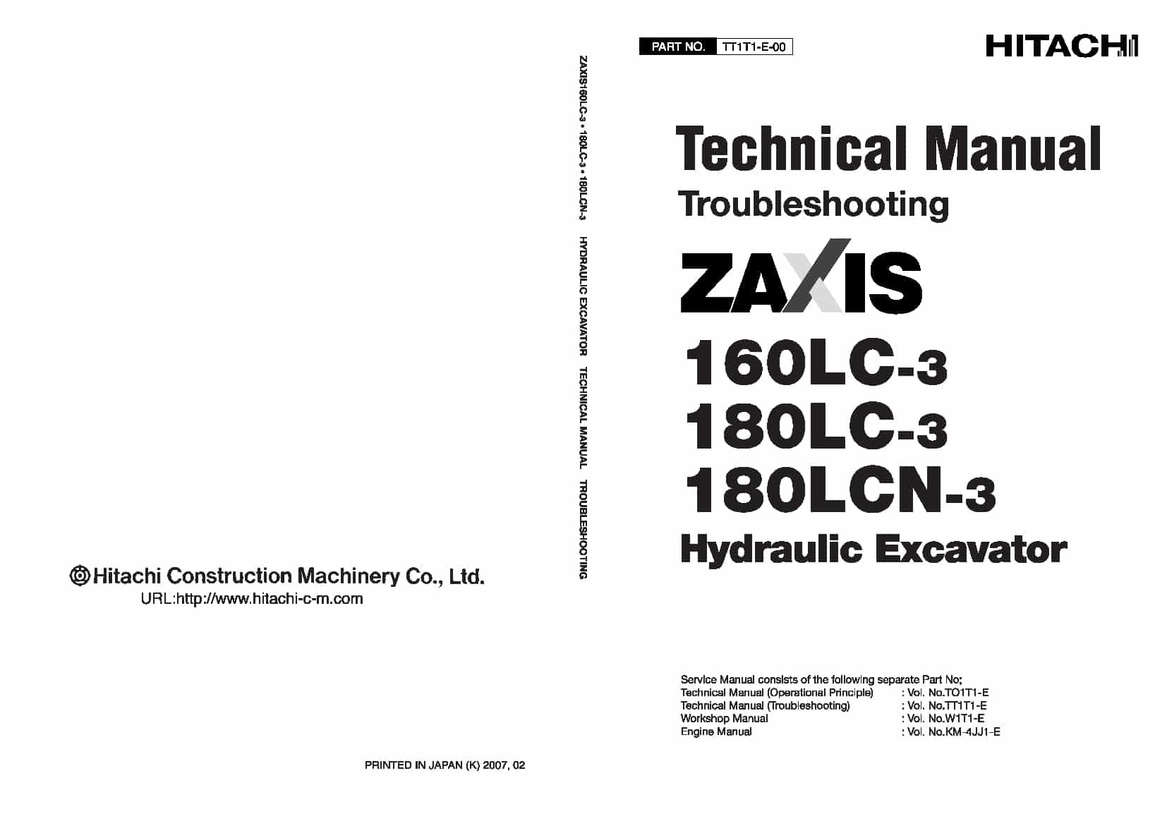 Hitachi Zaxis 160LC-3 180LC-3 LCN Technical manual