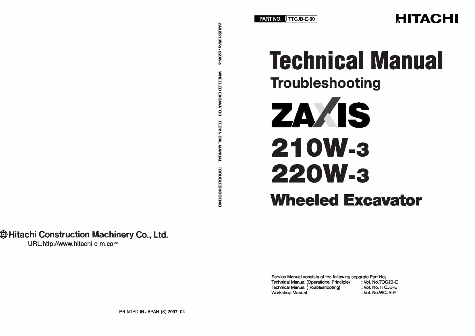 Hitachi Zaxis 210W-3 220W-3 Technical manual