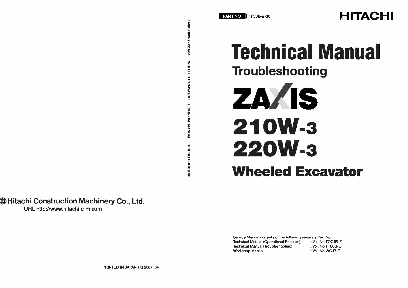 Hitachi Zaxis 210W-3 220W-3 Technical manual